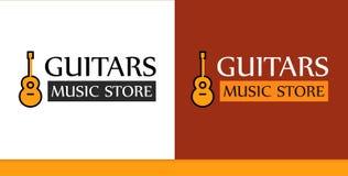 Logotipo para Music Store con el ejemplo de la guitarra ilustración del vector