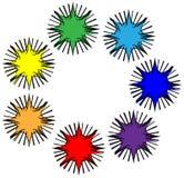 Logotipo a partir de siete mármoles coloreados Fotos de archivo
