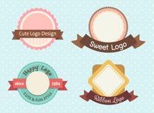 Logotipo pastel bonito e doce do prêmio do vintage ilustração do vetor
