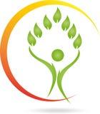 Logotipo, pessoa, folhas, Naturopaths ilustração stock