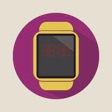 Logotipo plano simple del icono del reloj del tiempo de la hora de la tecnología del uso moderno elegante de la electrónica imagenes de archivo