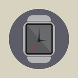 Logotipo plano simple del icono del reloj del tiempo de la hora de la tecnología del uso moderno elegante de la electrónica fotos de archivo