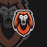 Logotipo poderoso do esporte do leão e ilustração royalty free