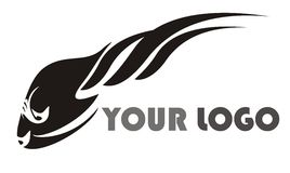 Logotipo preto dos peixes Imagem de Stock