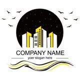Logotipo preto e amarelo, cidade ilustração stock
