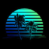 Logotipo preto e azul esverdeado das listras com palmeiras Fotografia de Stock Royalty Free