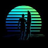 Logotipo preto e azul esverdeado das listras com silhueta do surfista Fotos de Stock Royalty Free