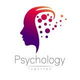 Logotipo principal moderno de la psicología Ser humano del perfil Imagen de archivo