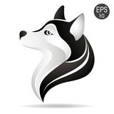 Logotipo principal ronco do perfil Ilustração conservada em estoque do vetor do cão do Alasca fotografia de stock