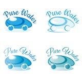 Logotipo puro da água para a entrega da água da empresa, a produção e a água de limpeza, venda da água Imagem de Stock