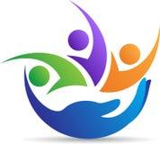 Logotipo que cuida de la familia Imágenes de archivo libres de regalías