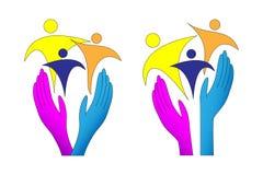 Logotipo que cuida de la familia stock de ilustración