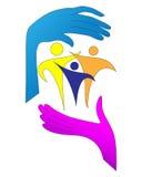 Logotipo que cuida de la familia ilustración del vector
