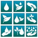 Logotipo que simboliza a água e a natureza Fotografia de Stock Royalty Free