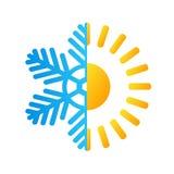 Logotipo quente do negócio do sol e do floco de neve da geada, illustra conservado em estoque do vetor ilustração royalty free