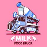 Logotipo rápido del vector del servicio de entrega de la barra de leche de la lechería del camión de la comida libre illustration