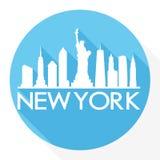 Logotipo redondo de la plantilla de la silueta de la ciudad de Art Flat Shadow Design Skyline del vector del icono de New York Ci stock de ilustración