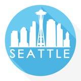 Logotipo redondo de la plantilla de la silueta de la ciudad de Art Flat Shadow Design Skyline del vector del icono de Seattle Was stock de ilustración