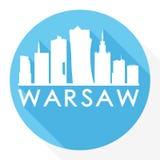 Logotipo redondo de la plantilla de la silueta de la ciudad de Art Flat Shadow Design Skyline del vector del icono de Varsovia Po Imagenes de archivo