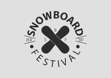 Logotipo redondo del vintage de la snowboard, diseño plano Imagen de archivo
