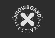 Logotipo redondo del vintage de la snowboard, diseño plano Imagen de archivo libre de regalías