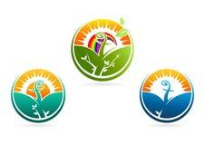 Logotipo religioso crescente do espírito Ícone do símbolo do vetor da natureza Fotografia de Stock