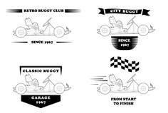 Logotipo retro con el pequeño cochecillo stock de ilustración