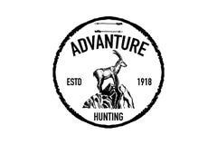 Logotipo retro de la cabra de montaña Fotos de archivo