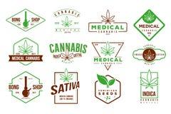 Logotipo retro del cáñamo médico, vector de la plantilla del sistema de etiqueta Imagen de archivo