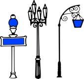 Logotipo retro del vector de los posts de la lámpara del vector Stock de ilustración