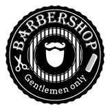 Logotipo retro do vetor do vintage da barbearia Ilustra??o preto e branco ilustração do vetor