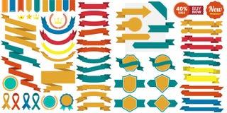 Logotipo retro do vetor do vintage para a bandeira Imagens de Stock