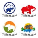 Logotipo running do conceito do elefante Imagem de Stock