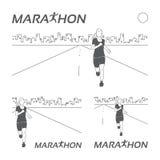 Logotipo running do vintage da maratona Fotos de Stock Royalty Free