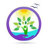 Logotipo saudável do bem-estar do ambiente da agricultura das economias do cuidado da natureza ilustração stock