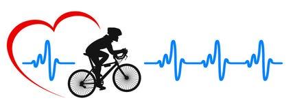 Logotipo saudável do estilo de vida Ciclistas na bicicleta, pulso do coração - ilustração do vetor