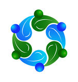 Logotipo saudável dos povos dos trabalhos de equipa ilustração stock