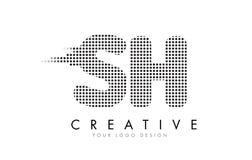 Logotipo SH da letra de S H com pontos e as fugas pretos Foto de Stock
