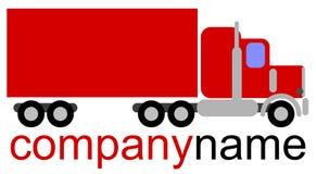 Logotipo simples da empresa do vetor com um caminhão americano vermelho da classe 8 Imagem de Stock