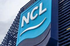Logotipo/sinal/emblema noruegueses da linha de cruzeiros NCL no navio noruegu?s de Star Cruise fotografia de stock royalty free