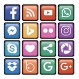 logotipo social de 16 iconos fotos de archivo