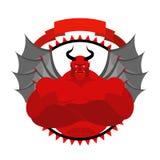 Logotipo temido, assustador de Satã para uma equipe de esportes ou clube desportivo Vermelho Imagens de Stock