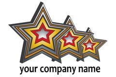 Logotipo triplo da estrela 3D ilustração royalty free