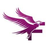 Logotipo valiente de Hawk Initial F de la púrpura del vector Fotos de archivo libres de regalías