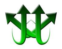 Logotipo verde da seta ilustração do vetor