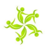 Logotipo verde de la gente del baile del trabajo en equipo Fotografía de archivo