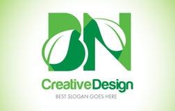 Logotipo verde do projeto de letra da folha dos BN Ícone Illus da letra da folha de Eco bio Fotografia de Stock