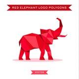 Logotipo vermelho do elefante com maré baixa e o baixo poli Fotos de Stock Royalty Free