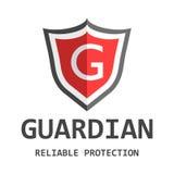 Logotipo vermelho do protetor Vector a ilustração no estilo liso com gua da palavra Imagens de Stock Royalty Free