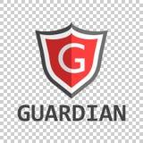 Logotipo vermelho do protetor Vector a ilustração no estilo liso com gua da palavra Imagem de Stock